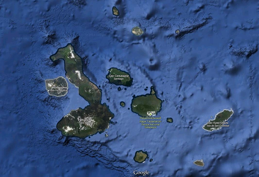 Галапагосские острова - снимок с космоса