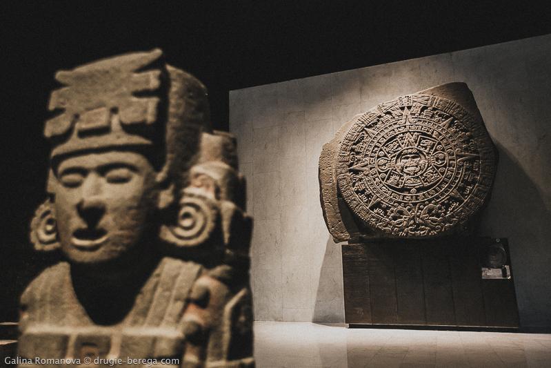 """Камень Солнца ацтеков, """"календарь ацтеков"""", Национальный Музей Антропологии Мехико"""